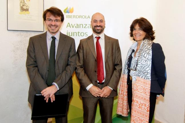2015-10-22. David Martín, Jorge Prieto y Ana Alcalde, en la jornada de Iberdrola
